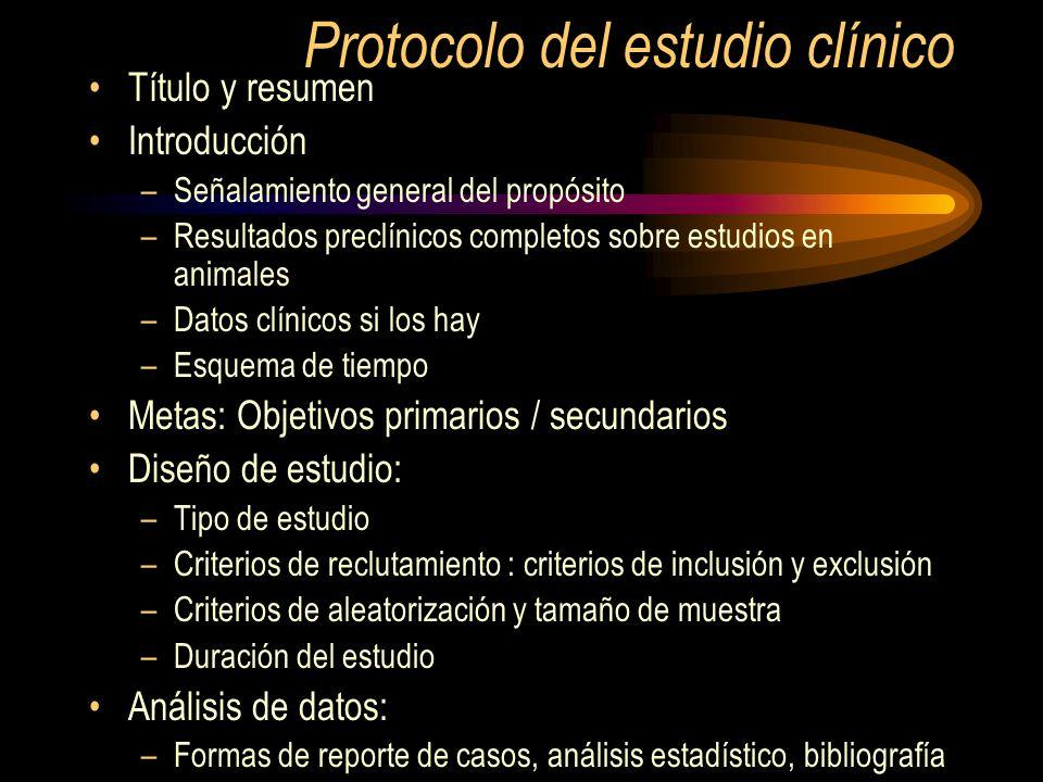Protocolo del estudio clínico Título y resumen Introducción –Señalamiento general del propósito –Resultados preclínicos completos sobre estudios en an