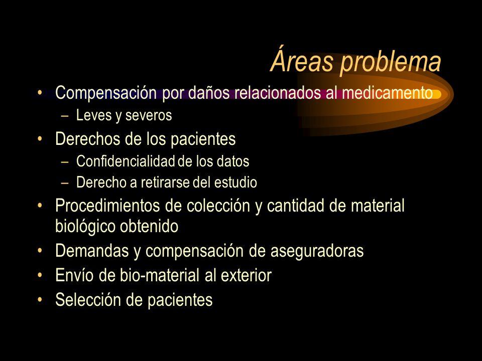Áreas problema Compensación por daños relacionados al medicamento –Leves y severos Derechos de los pacientes –Confidencialidad de los datos –Derecho a