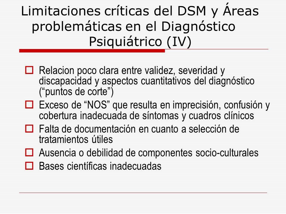 Limitaciones críticas del DSM y Áreas problemáticas en el Diagnóstico Psiquiátrico (IV) Relacion poco clara entre validez, severidad y discapacidad y