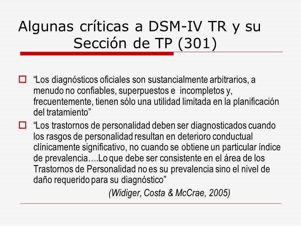 Algunas críticas a DSM-IV TR y su Sección de TP (301) Los diagnósticos oficiales son sustancialmente arbitrarios, a menudo no confiables, superpuestos