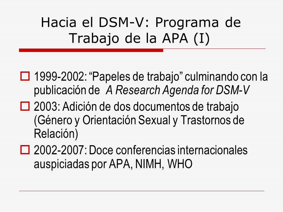Hacia el DSM-V: Programa de Trabajo de la APA (I) 1999-2002: Papeles de trabajo culminando con la publicación de A Research Agenda for DSM-V 2003: Adi