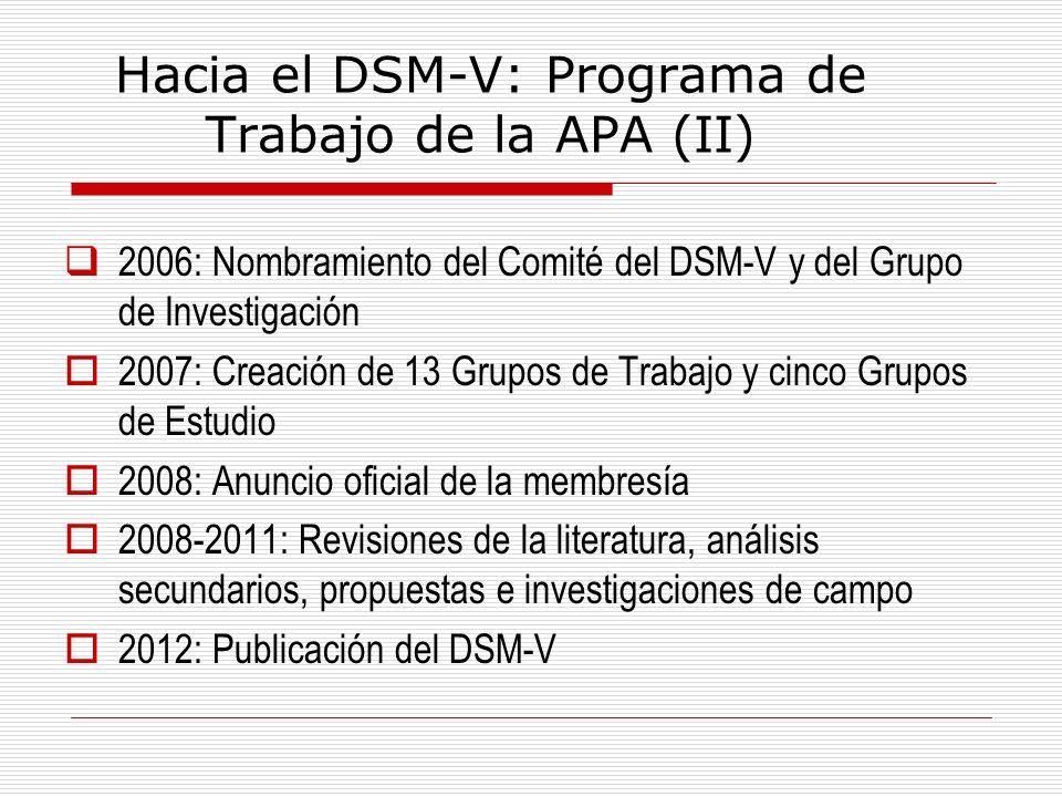 Hacia el DSM-V: Programa de Trabajo de la APA (II) 2006: Nombramiento del Comité del DSM-V y del Grupo de Investigación 2007: Creación de 13 Grupos de