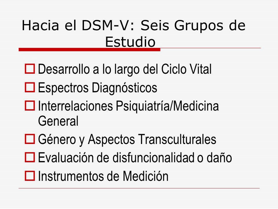 Hacia el DSM-V: Seis Grupos de Estudio Desarrollo a lo largo del Ciclo Vital Espectros Diagnósticos Interrelaciones Psiquiatría/Medicina General Géner