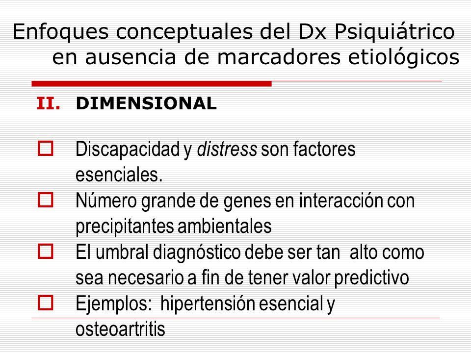 Enfoques conceptuales del Dx Psiquiátrico en ausencia de marcadores etiológicos II.DIMENSIONAL Discapacidad y distress son factores esenciales. Número
