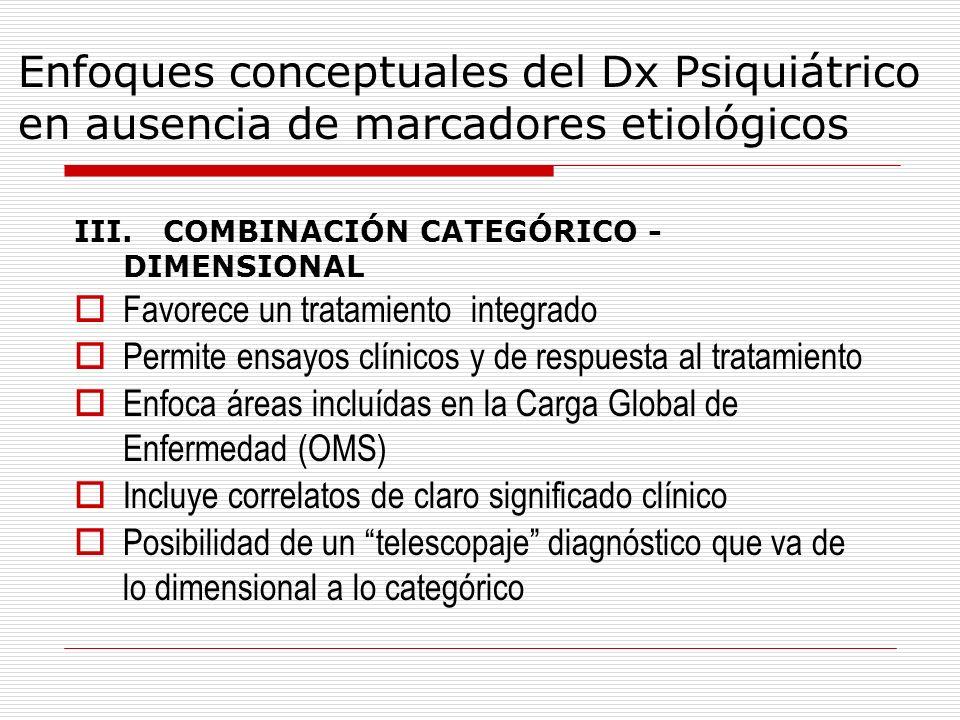 Enfoques conceptuales del Dx Psiquiátrico en ausencia de marcadores etiológicos III. COMBINACIÓN CATEGÓRICO - DIMENSIONAL Favorece un tratamiento inte