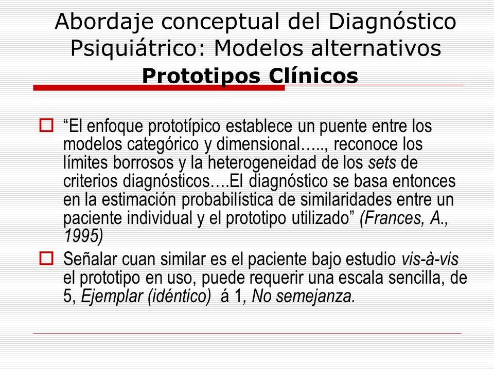 Abordaje conceptual del Diagnóstico Psiquiátrico: Modelos alternativos Prototipos Clínicos El enfoque prototípico establece un puente entre los modelo