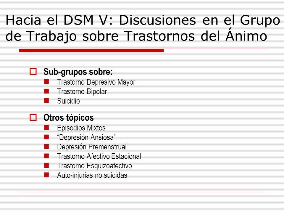 Hacia el DSM V: Discusiones en el Grupo de Trabajo sobre Trastornos del Ánimo Sub-grupos sobre: Trastorno Depresivo Mayor Trastorno Bipolar Suicidio O