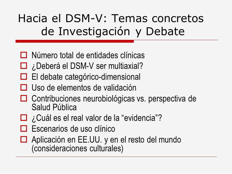 Hacia el DSM-V: Temas concretos de Investigación y Debate Número total de entidades clínicas ¿Deberá el DSM-V ser multiaxial? El debate categórico-dim