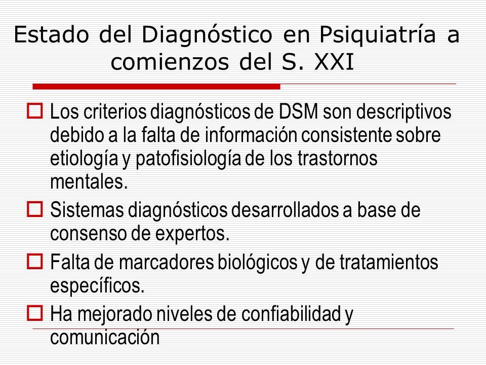 Estado del Diagnóstico en Psiquiatría a comienzos del S. XXI Los criterios diagnósticos de DSM son descriptivos debido a la falta de información consi