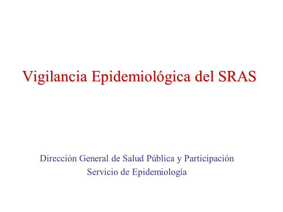 Vigilancia Epidemiológica del SRAS Dirección General de Salud Pública y Participación Servicio de Epidemiología