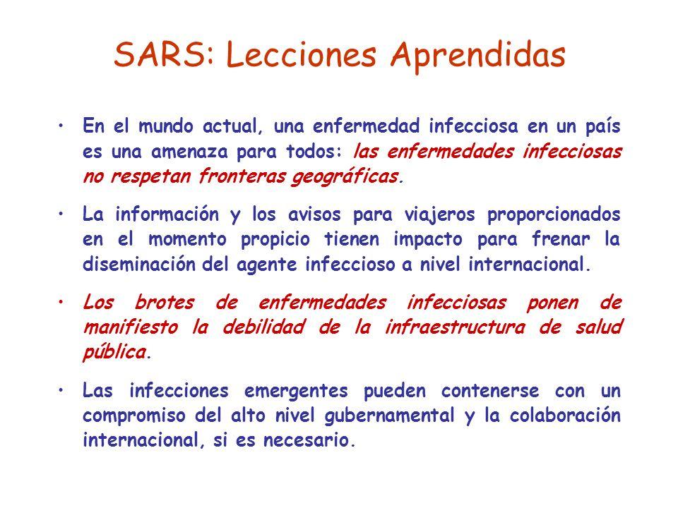 SARS: Lecciones Aprendidas En el mundo actual, una enfermedad infecciosa en un país es una amenaza para todos: las enfermedades infecciosas no respetan fronteras geográficas.