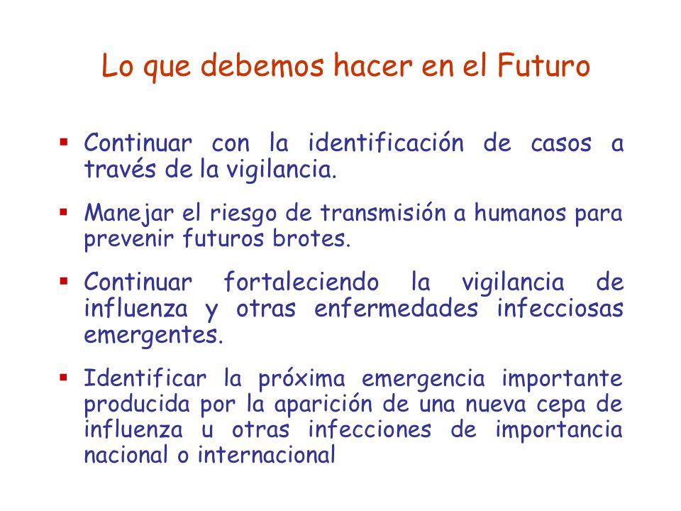 Lo que debemos hacer en el Futuro Continuar con la identificación de casos a través de la vigilancia. Manejar el riesgo de transmisión a humanos para