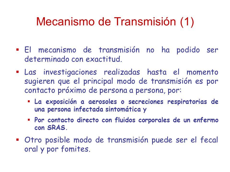 Mecanismo de Transmisión (1) El mecanismo de transmisión no ha podido ser determinado con exactitud. Las investigaciones realizadas hasta el momento s