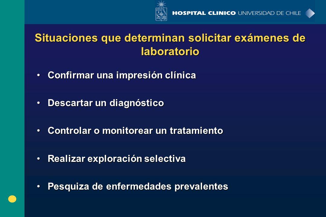 Situaciones que determinan solicitar exámenes de laboratorio Confirmar una impresión clínicaConfirmar una impresión clínica Descartar un diagnósticoDe