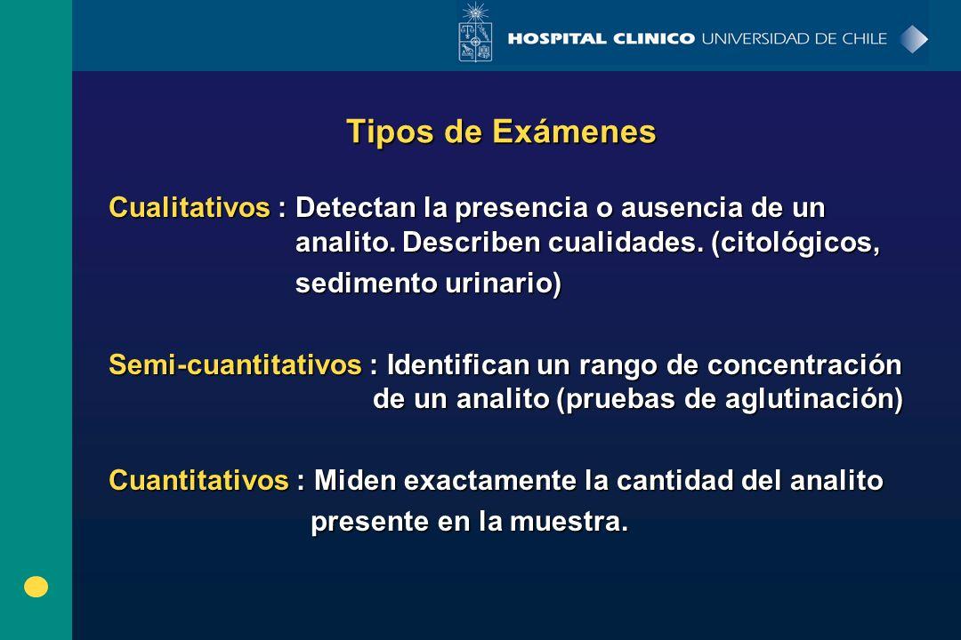 Tipos de Exámenes Cualitativos : Detectan la presencia o ausencia de un analito. Describen cualidades. (citológicos, sedimento urinario) sedimento uri