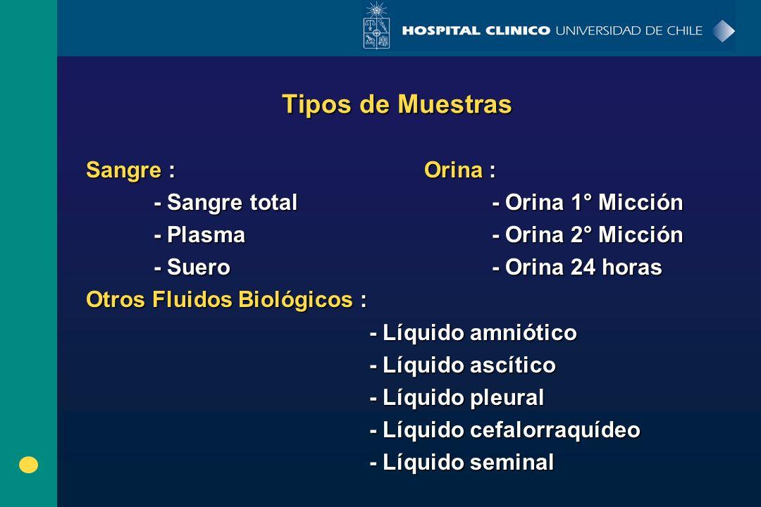 Tipos de Muestras Sangre :Orina : - Sangre total - Orina 1° Micción - Plasma- Orina 2° Micción - Suero- Orina 24 horas Otros Fluidos Biológicos : - Lí