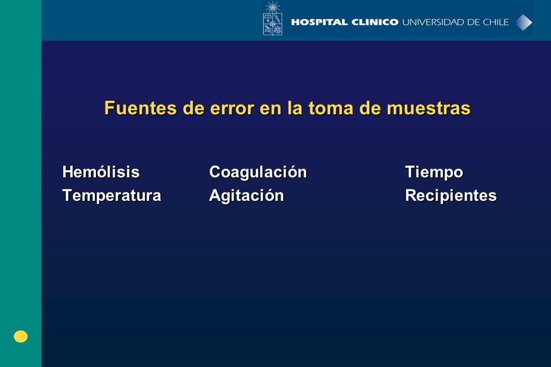 Fuentes de error en la toma de muestras HemólisisCoagulación Tiempo TemperaturaAgitación Recipientes