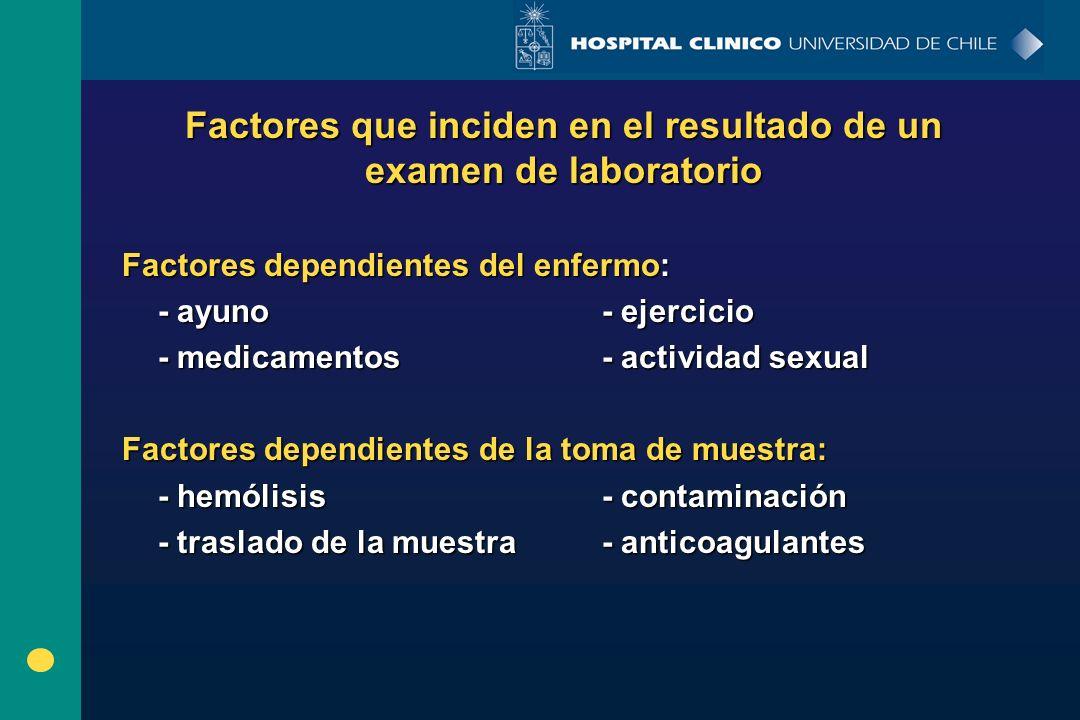 Factores que inciden en el resultado de un examen de laboratorio Factores dependientes del enfermo: - ayuno- ejercicio - medicamentos- actividad sexua