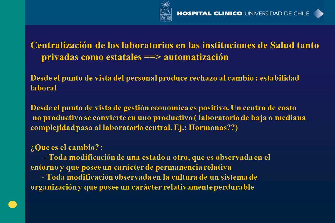 Centralización de los laboratorios en las instituciones de Salud tanto privadas como estatales ==> automatización Desde el punto de vista del personal