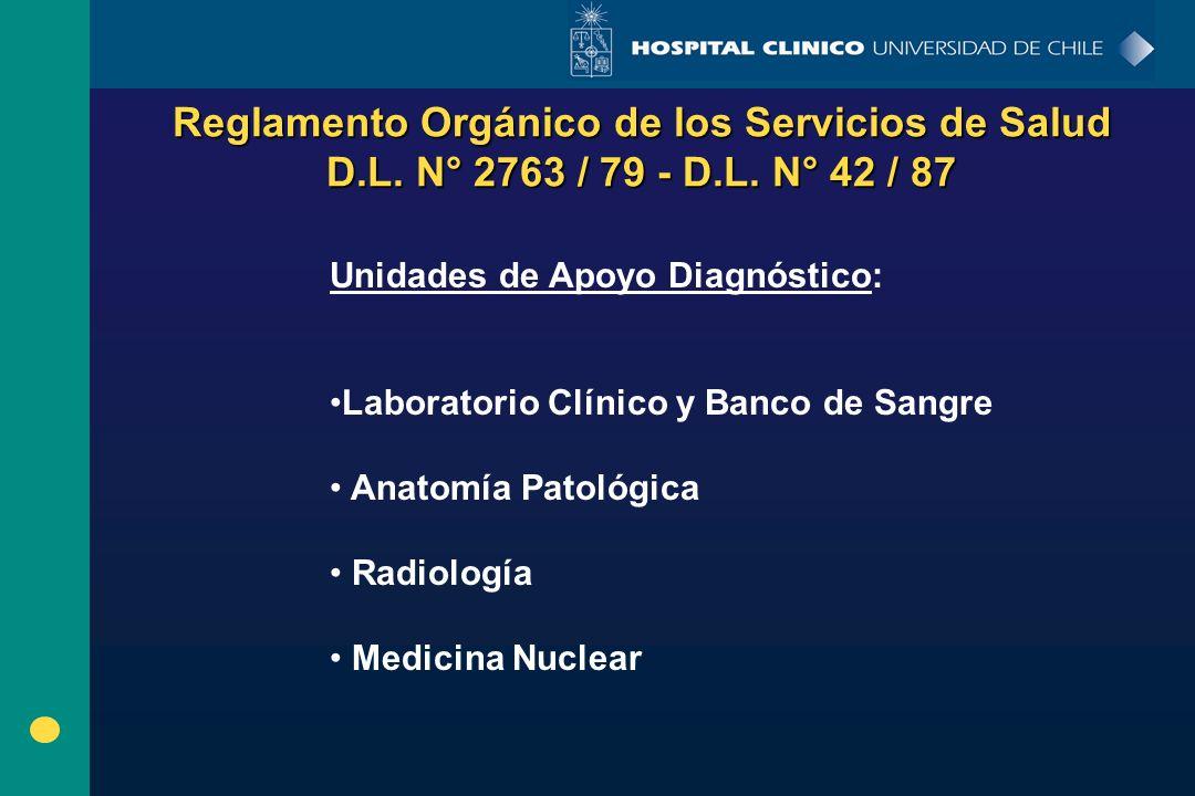 Reglamento Orgánico de los Servicios de Salud D.L. N° 2763 / 79 - D.L. N° 42 / 87 Unidades de Apoyo Diagnóstico: Laboratorio Clínico y Banco de Sangre