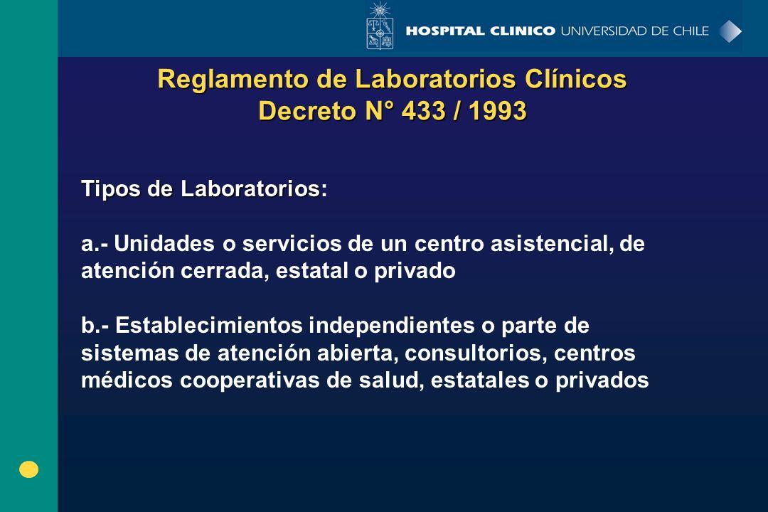 Reglamento de Laboratorios Clínicos Decreto N° 433 / 1993 Tipos de Laboratorios Tipos de Laboratorios: a.- Unidades o servicios de un centro asistenci