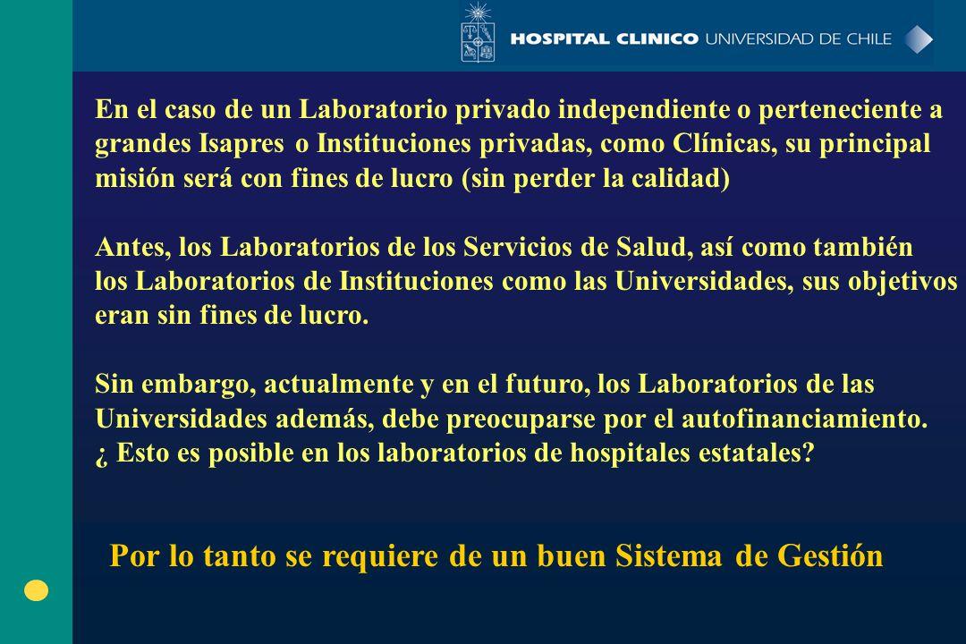 En el caso de un Laboratorio privado independiente o perteneciente a grandes Isapres o Instituciones privadas, como Clínicas, su principal misión será