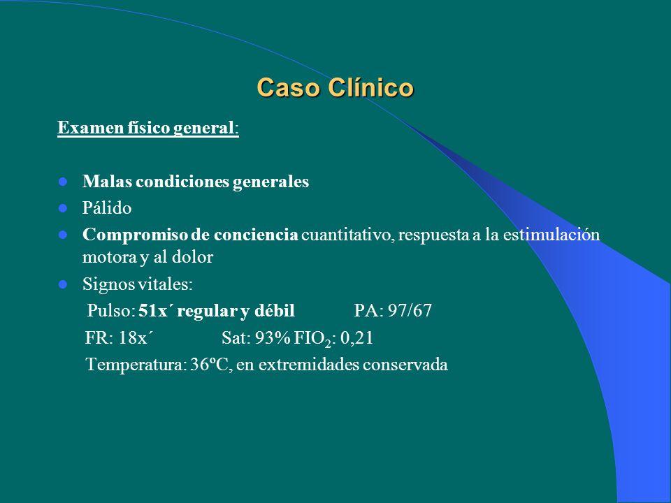 Examen físico segmentario: Cabeza: normocráneo pupilas isocóricas reactivas resto n/e Cuello: Pulso carotídeo: débil Yugulares: algo ingurgitadas a 30º Tórax: herida cortopunzante 5º EICI Corazón: tonos apagados.