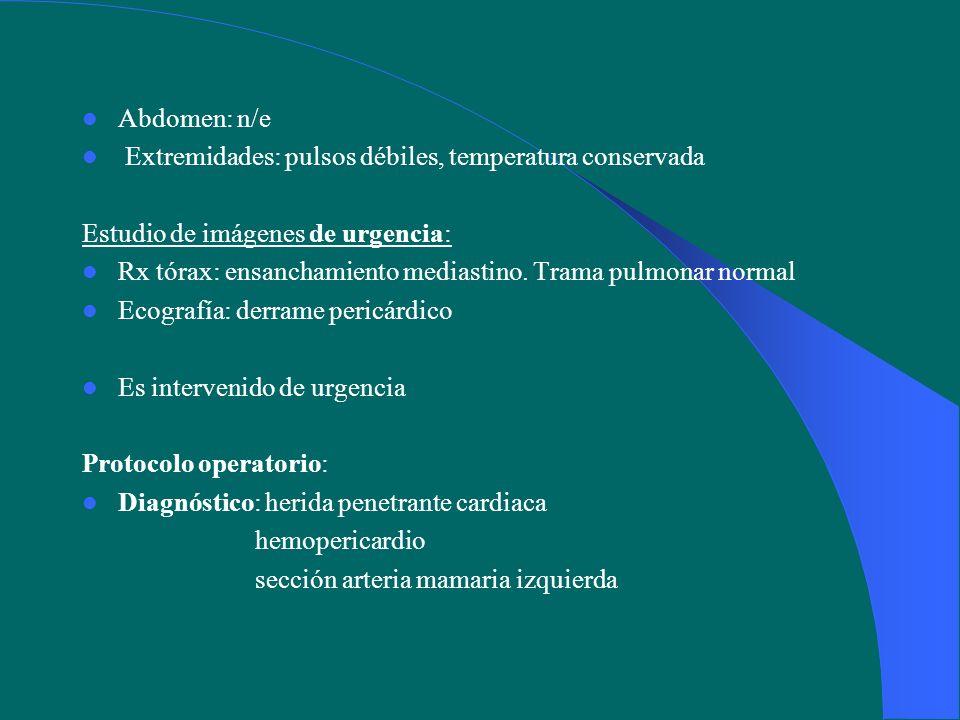 Operación Operación: Toracotomía A-L izquierda 5EICI Se identifica herida ventrículo derecho 1,5cm.