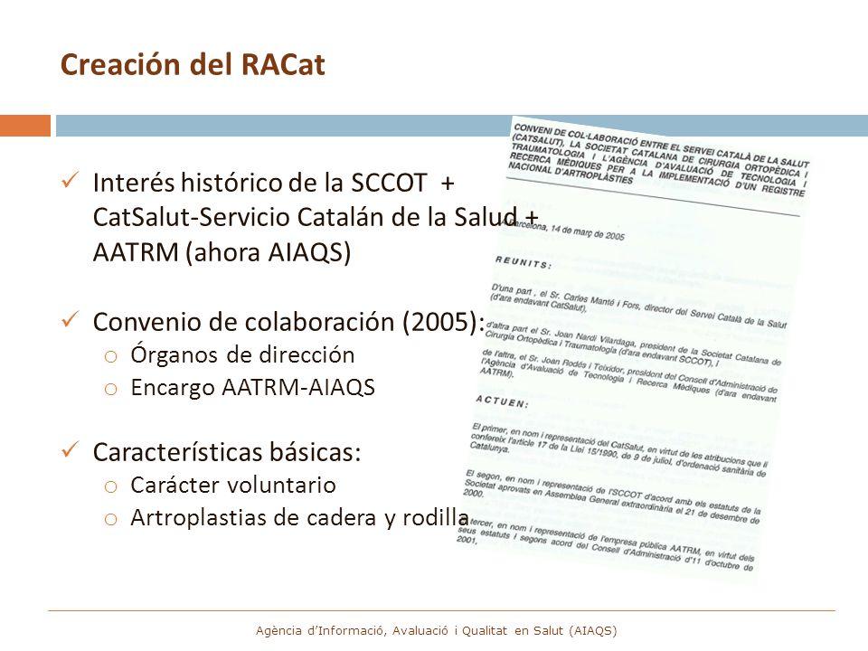 Creación del RACat Interés histórico de la SCCOT + CatSalut-Servicio Catalán de la Salud + AATRM (ahora AIAQS) Convenio de colaboración (2005): o Órga