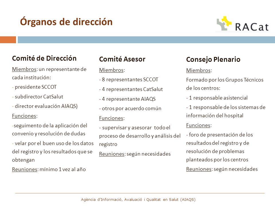 Órganos de dirección Comité de Dirección Miembros: un representante de cada institución: - presidente SCCOT - subdirector CatSalut - director evaluaci