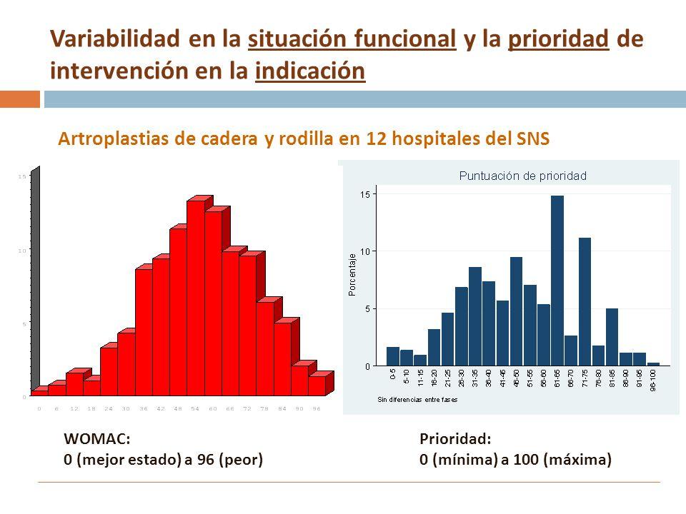 Variabilidad en la situación funcional y la prioridad de intervención en la indicación Artroplastias de cadera y rodilla en 12 hospitales del SNS Prio