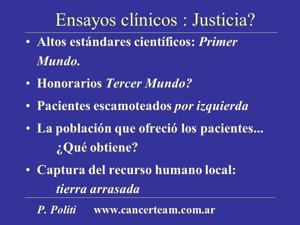 Ensayos clínicos : Justicia? Altos estándares científicos: Primer Mundo. Honorarios Tercer Mundo? Pacientes escamoteados por izquierda La población qu