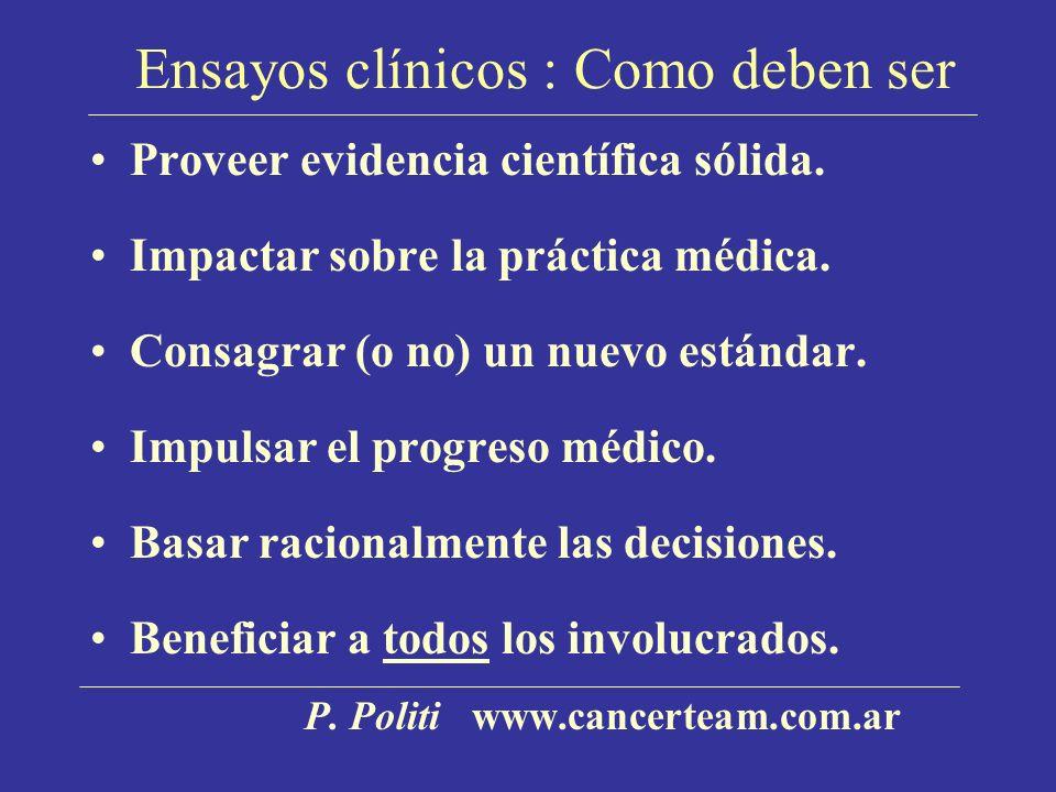 Ensayos clínicos : Como deben ser Proveer evidencia científica sólida.