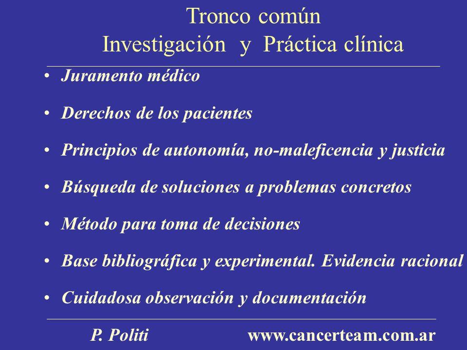 Tronco común Investigación y Práctica clínica Juramento médico Derechos de los pacientes Principios de autonomía, no-maleficencia y justicia Búsqueda