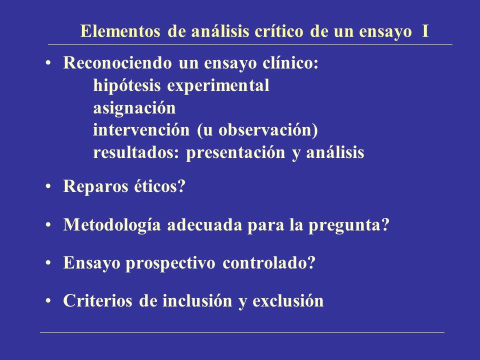 Elementos de análisis crítico de un ensayo I Reconociendo un ensayo clínico: hipótesis experimental asignación intervención (u observación) resultados: presentación y análisis Reparos éticos.