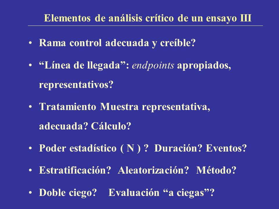 Elementos de análisis crítico de un ensayo III Rama control adecuada y creíble? Línea de llegada: endpoints apropiados, representativos? Tratamiento M