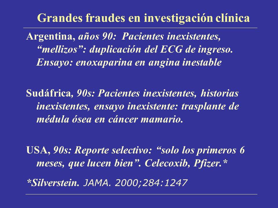 Grandes fraudes en investigación clínica Argentina, años 90: Pacientes inexistentes, mellizos: duplicación del ECG de ingreso. Ensayo: enoxaparina en