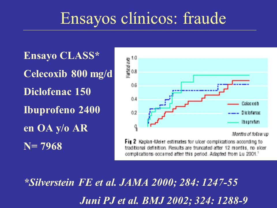 Ensayos clínicos: fraude Ensayo CLASS* Celecoxib 800 mg/d Diclofenac 150 Ibuprofeno 2400 en OA y/o AR N= 7968 *Silverstein FE et al. JAMA 2000; 284: 1
