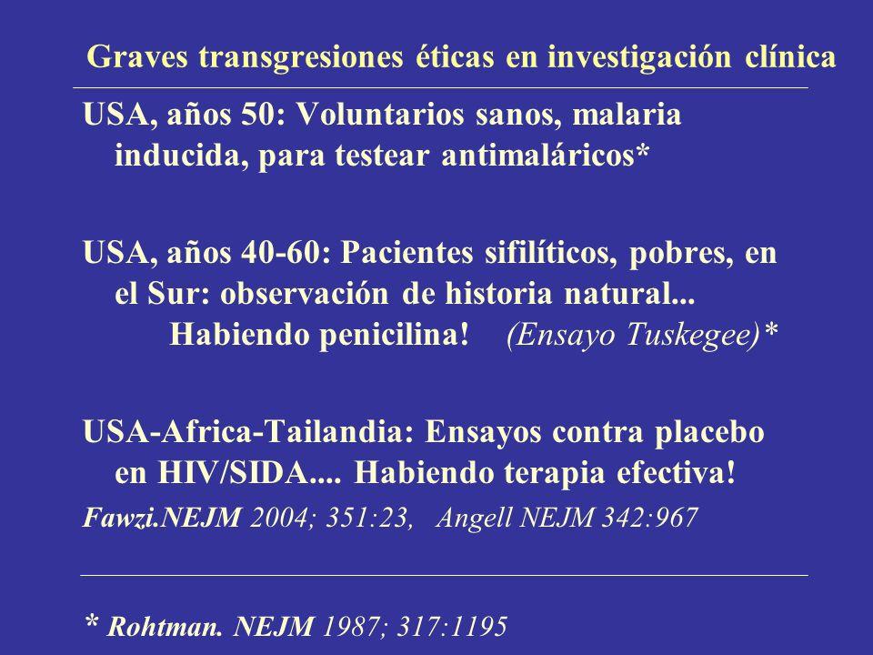 Graves transgresiones éticas en investigación clínica USA, años 50: Voluntarios sanos, malaria inducida, para testear antimaláricos* USA, años 40-60: Pacientes sifilíticos, pobres, en el Sur: observación de historia natural...