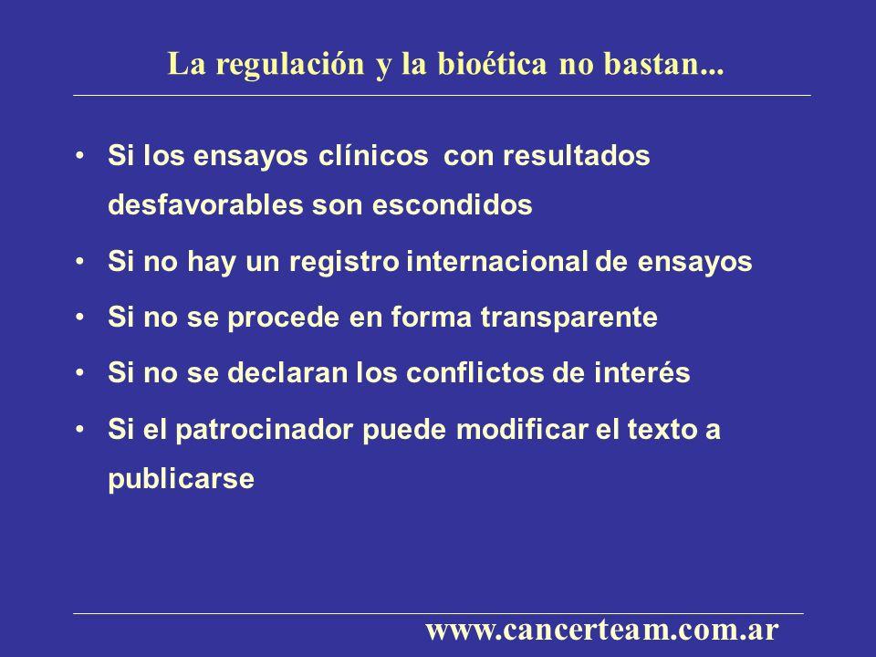 La regulación y la bioética no bastan... Si los ensayos clínicos con resultados desfavorables son escondidos Si no hay un registro internacional de en