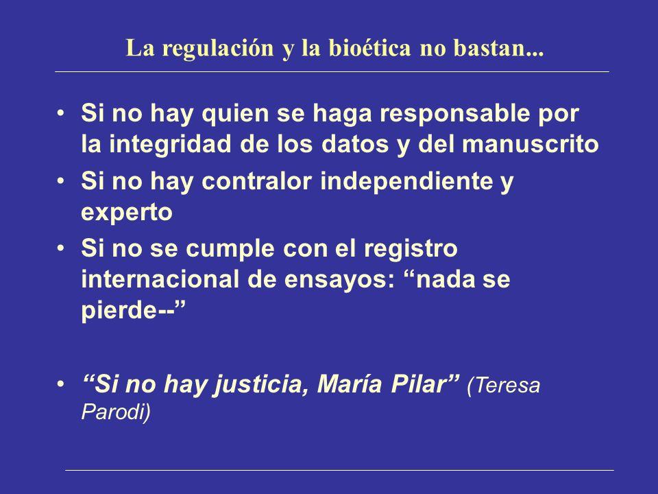 La regulación y la bioética no bastan... Si no hay quien se haga responsable por la integridad de los datos y del manuscrito Si no hay contralor indep