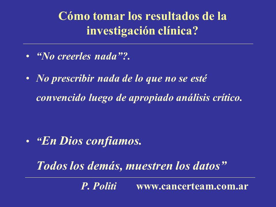Cómo tomar los resultados de la investigación clínica? No creerles nada?. No prescribir nada de lo que no se esté convencido luego de apropiado anális