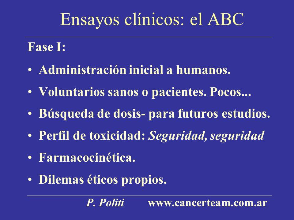 Ensayos clínicos: el ABC Fase I: Administración inicial a humanos. Voluntarios sanos o pacientes. Pocos... Búsqueda de dosis- para futuros estudios. P