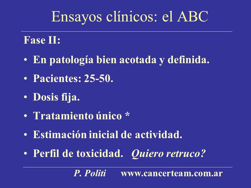 Ensayos clínicos: el ABC Fase II: En patología bien acotada y definida. Pacientes: 25-50. Dosis fija. Tratamiento único * Estimación inicial de activi