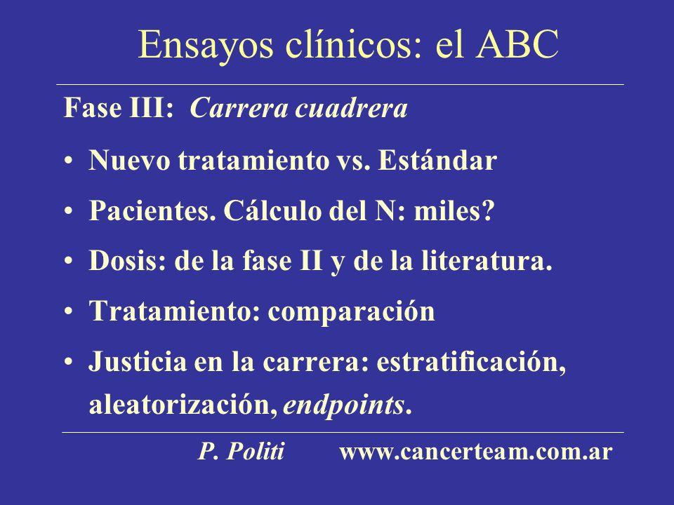 Ensayos clínicos: el ABC Fase III: Carrera cuadrera Nuevo tratamiento vs. Estándar Pacientes. Cálculo del N: miles? Dosis: de la fase II y de la liter