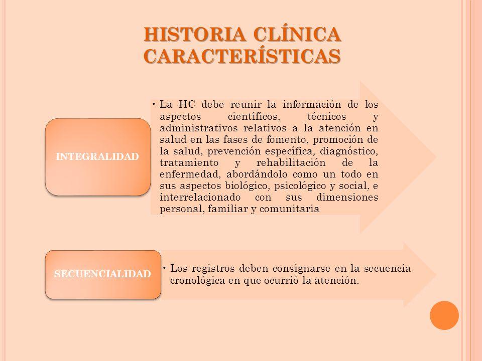 HISTORIACLÍNICA CARACTERÍSTICAS HISTORIA CLÍNICA CARACTERÍSTICAS La HC debe reunir la información de los aspectos científicos, técnicos y administrati
