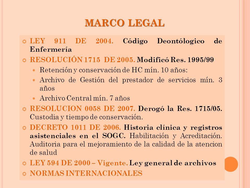 MARCO LEGAL LEY 911 DE 2004. Código Deontólogico de Enfermería RESOLUCIÓN 1715 DE 2005. Modificó Res. 1995/99 Retención y conservación de HC mín. 10 a