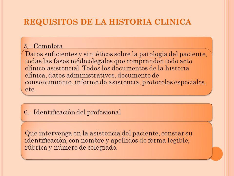 REQUISITOS DE LA HISTORIA CLINICA 5.- Completa Datos suficientes y sintéticos sobre la patología del paciente, todas las fases médicolegales que compr