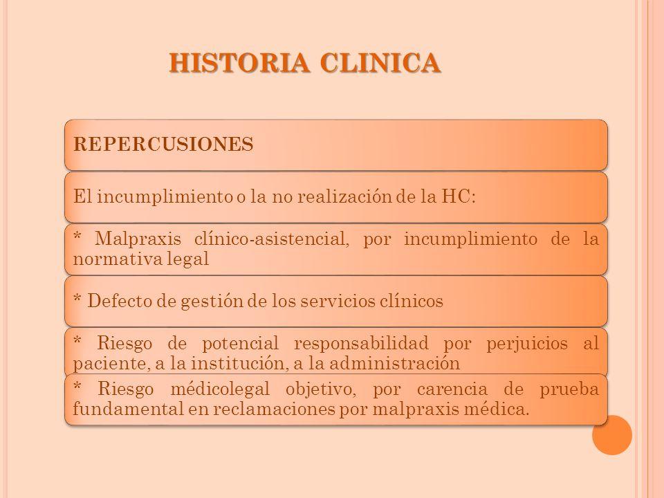 REPERCUSIONES El incumplimiento o la no realización de la HC: * Malpraxis clínico-asistencial, por incumplimiento de la normativa legal * Defecto de g