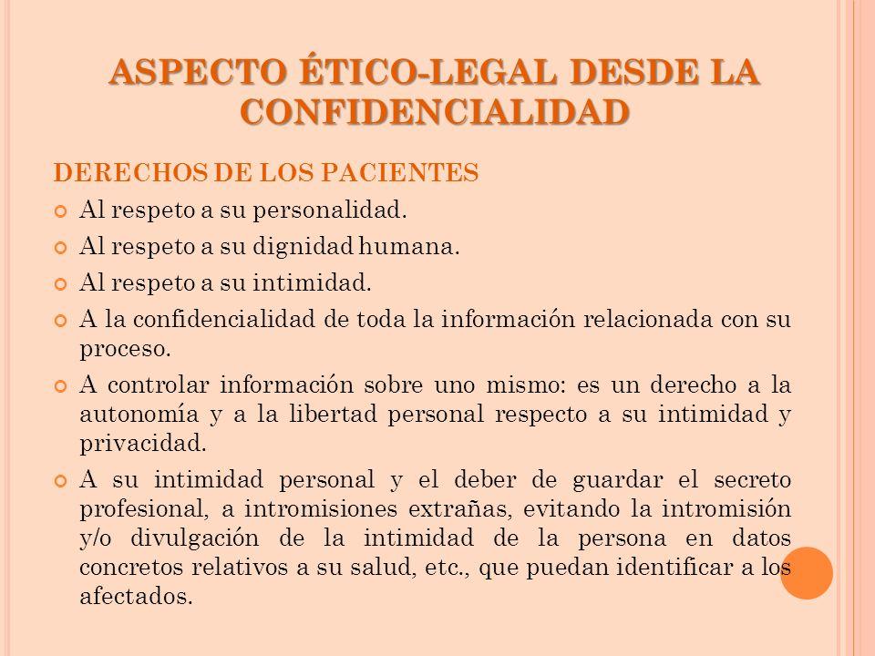 ASPECTO ÉTICO-LEGAL DESDE LA CONFIDENCIALIDAD DERECHOS DE LOS PACIENTES Al respeto a su personalidad. Al respeto a su dignidad humana. Al respeto a su